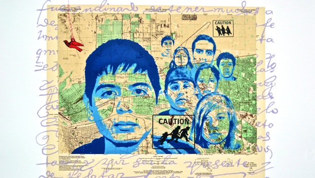CAUTION: Dreamers in/on sight. Silkscreen 22 x 30 in. 2013.