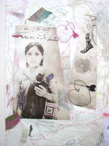 Niña de Chiapas. Mixed Media: Vandykes printed on veneer and cheese, cloth, paper, thread, a photograph. Thread drawings. 17 ½ x 10 x 2 3/4 in. 2006.