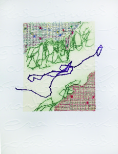 Mojándose (crossing) Etching, relief, chine cole and thread drawings 15 x 22 in. 2013.