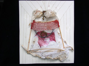Innocence, from the series Cucas/Paper Dolls. Mixed Media. Handmade paper, reeds, fabric, found metals, metallic thread. Knitted wire, Polaroid transfer, machine stitching, hand embroidery. 2001.