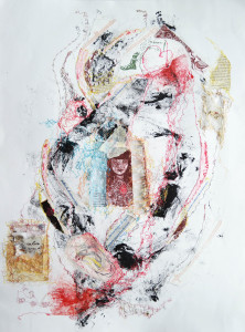 Bleeding Heart. Intaglio, relief, thread drawings, chine colle, collage. 24 x 30 in. 2012.
